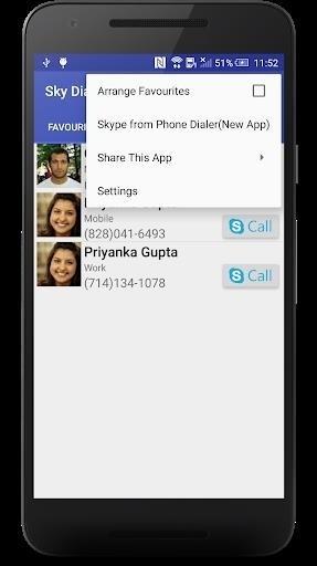 Скриншот Sky Dialer для Skype для Android