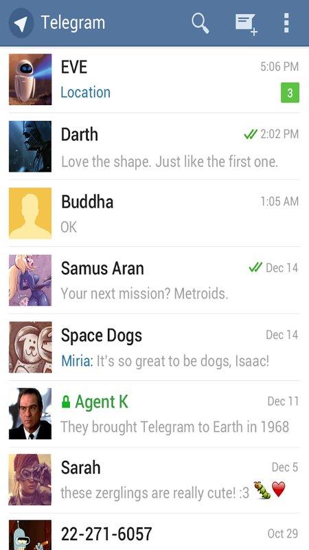 Скриншот Telegram для Android