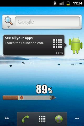 Скриншот Виджет сигареты батареи / Cigarette Battery Widget для Android