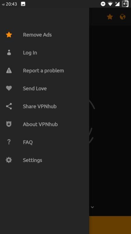 Скриншот VPNhub для Android