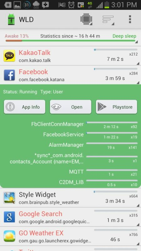 Скриншот Wakelock Detector для Android