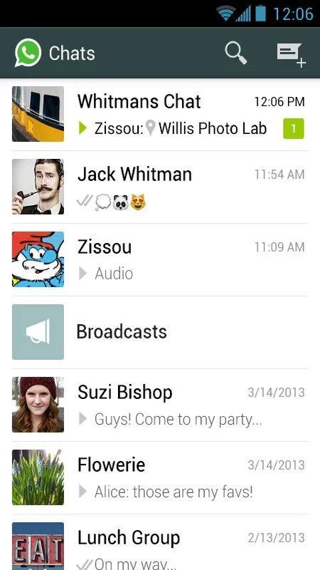 Скриншот WhatsApp для Android