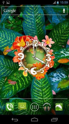 Скриншот Живые обои 'Цветочные Часы' / Flower Clock Live Wallpaper для Android